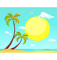 summer beach with palm tree and big sun vector image vector image