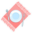 table napkin and plate with spoon and fork vector image