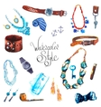 watercolor Set Accessories vector image vector image