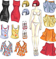 Cute dress up paper doll vector image