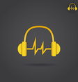 Headphone with sound wave vector image