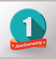 1 anniversary label with ribbon vector image