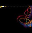 abstract colorful glowing lines on black backgroun vector image vector image