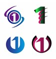 Abstract Number 1 logo Symbol icon set vector image vector image