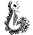 black image of figure dancer vector image vector image
