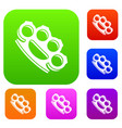 brass knuckles set collection vector image vector image