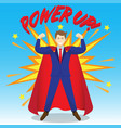 businessman wearing red cloak and power up as vector image vector image