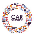 car service icons in round frame composition vector image vector image