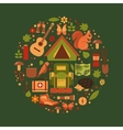 cartoon eco tourism icons camping set vector image vector image