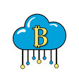 cloud data center with bicoin symbol vector image vector image