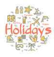 colorful icons in summer holidays theme vector image vector image