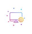 computer or monitor icon service cogwheel sign vector image