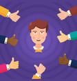 crop thumbs up approving young employee vector image vector image