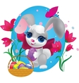 Cute bunny with decorative egg vector image