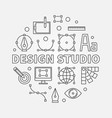 design studio round outline vector image vector image