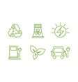 eco energy line icons set green environment and vector image