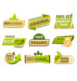 eco label banner healthy food labels eco bio vector image