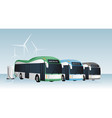 electric buses row vector image vector image