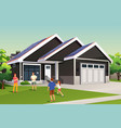 family playing outside their home with solar roof vector image