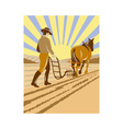 farmer and horse plowing the farm vector image vector image
