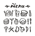 Food icons in hand drawn style vector image