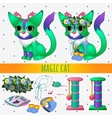 Green magic cat with toys and summer accessories vector image vector image