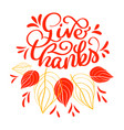 hand drawn give thanks typography text vector image vector image