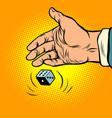 hand throws dice vector image vector image