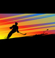 hockey silhouette on bright vector image vector image