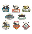 hunting safari icons with animals and hunter guns vector image