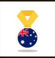 medal with the australia flag isolated on white vector image vector image