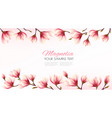 nature flower frame with pink magnolia vector image vector image