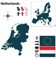 Netherlands and European Union map vector image vector image