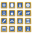 pirate icons set blue vector image vector image