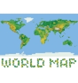 pixel art style world physical map with green and vector image vector image