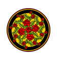 Russian national pattern painting Hohloma Round vector image vector image