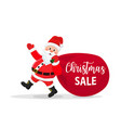 santa claus walking with bag of presents vector image vector image