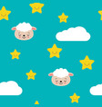 seamless pastel cute sheep with cloud and star vector image