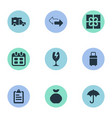 set of simple carting icons vector image