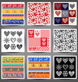 Set seamless patterns of hearts and squares vector image vector image