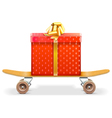 Skateboard with Gift vector image vector image