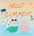 summer sea beach and funny mermaid cat cartoon vector image