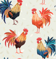 vintage seamless texture with cute roosters vector image