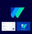 w letter monogram different color elements vector image