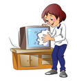woman wiping dust on television set vector image vector image