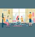 women in gym doing sport fitness healthy girls vector image vector image
