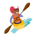 young black woman riding a kayak vector image
