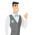 young caucasian groom showing ok sign vector image vector image
