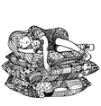 Sleeping girl on pillows vector image