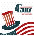 4th july independence day usa flag hat celebration vector image